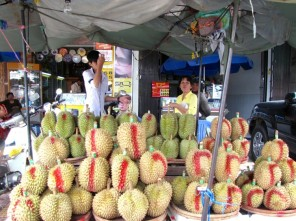 Pit stop for durian with Aunt Yutha - Near Central Market, Phnom Penh