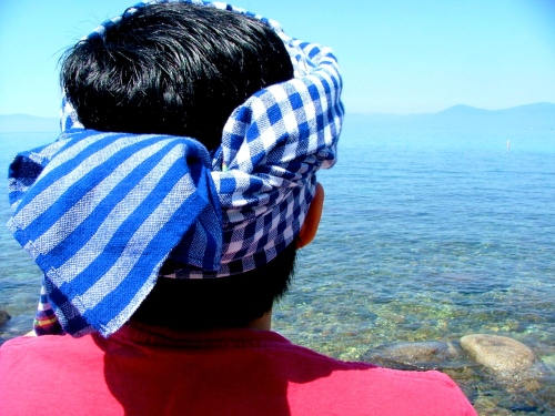 Krama worn around the head by Daly Pa, even far, far away from Cambodia - Lake Tahoe, California