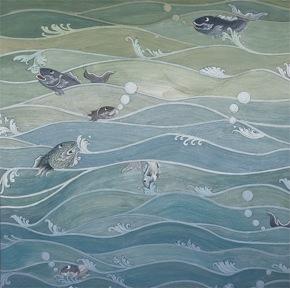 Kbach Tonle Sap 2, 2009, Duong Saree, Watercolor on paper, 50 cm. x 50 cm.