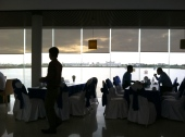Players and audiences fill up on breakfast before the golf tournament begins - Grand Phnom Penh Golf Club, Phnom Penh