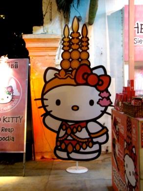 Kitty dons the dancer look - Night Market, Siem Reap