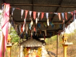 The flags of another Neak Ta altar - Phnom Chi Sol, Takeo