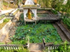 Religious site and the surrounding lotus pond - Phnom Chi Sol, Takeo