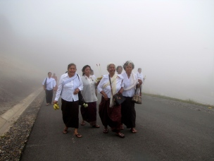 My trio of aunt companions (plus one other woman I don't know), faces in delight - Phnom Bokor, Kampot