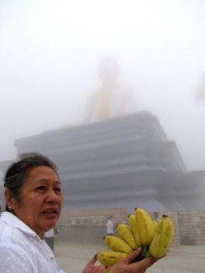 Aunt Channary at the foot of Grandmother Mao - Phnom Bokor, Kampot