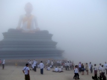 Sojourners stop at the shrine of Grandmother Mao to pray for safe travels - Phnom Bokor, Kampot