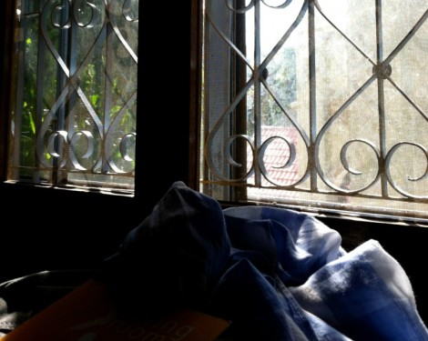 One of the many windows near I camped out near for hours, working on applications - Cafe Living Room, Phnom Penh