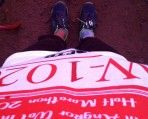 Looking down at my running bib - Angkor, Siem Reap