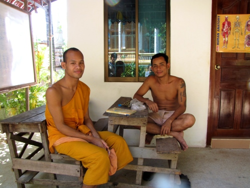 Monk and fellow friend-comrade on site for conversation - Wat Kesararam, Siem Reap