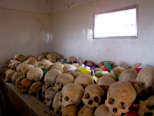 Skulls stored on the right when walking into the memorial - Wat Kampong Tralach, Kampot