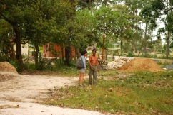 The exhumed mass graves located in front of the memorial - Wat Kampong Tralach, Kampot