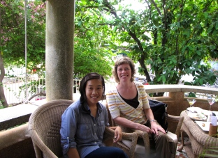 After a visit to Tuol Sleng, with Sarah Lischer, professor in the Politics and International Affairs Department at Wake Forest University and author of Dangerous Sanctuaries: Refugee Camps, Civil War, and the Dilemmas of Humanitarian Aid - Terrace 95, Phnom Penh (Photo by Friendly Server at Terrace 95)