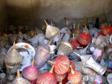 Urns from individuals in the community are mixed with urns of the cremated remains of genocide victims - Wat Samdech Mony, Battambang