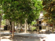 The two stupas that originally held the remains of genocide victims sit, for the most part empty, in a grove of shady trees - Wat Samdech Mony