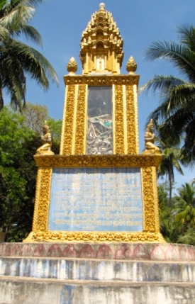 The relatively newly constructed structure is both a memorial for remains from the genocide and a public memorial for those who cannot build their own stupa - Wat Samdech Mony, Battambang