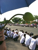 Lotus in view of the road, as crowds wait for the body of the king father Norodom Sihanouk - Independence Monument, Phnom Penh