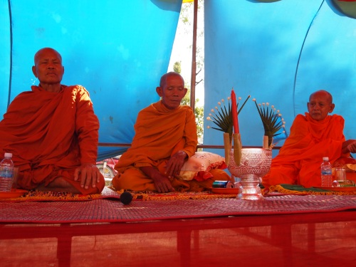 Monks from the local temple attending the ceremony - Samroung, Takeo (Photo by Katie Markovich)