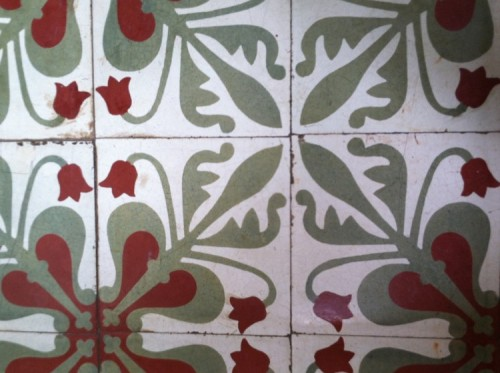 Ceramic tiles like these are a common sight in old villas, and are sometimes found around old pagoda sites like Wat Samdech Knong and Wat Samdech Mony in Battambang - The Terrace on 95, Phnom Penh